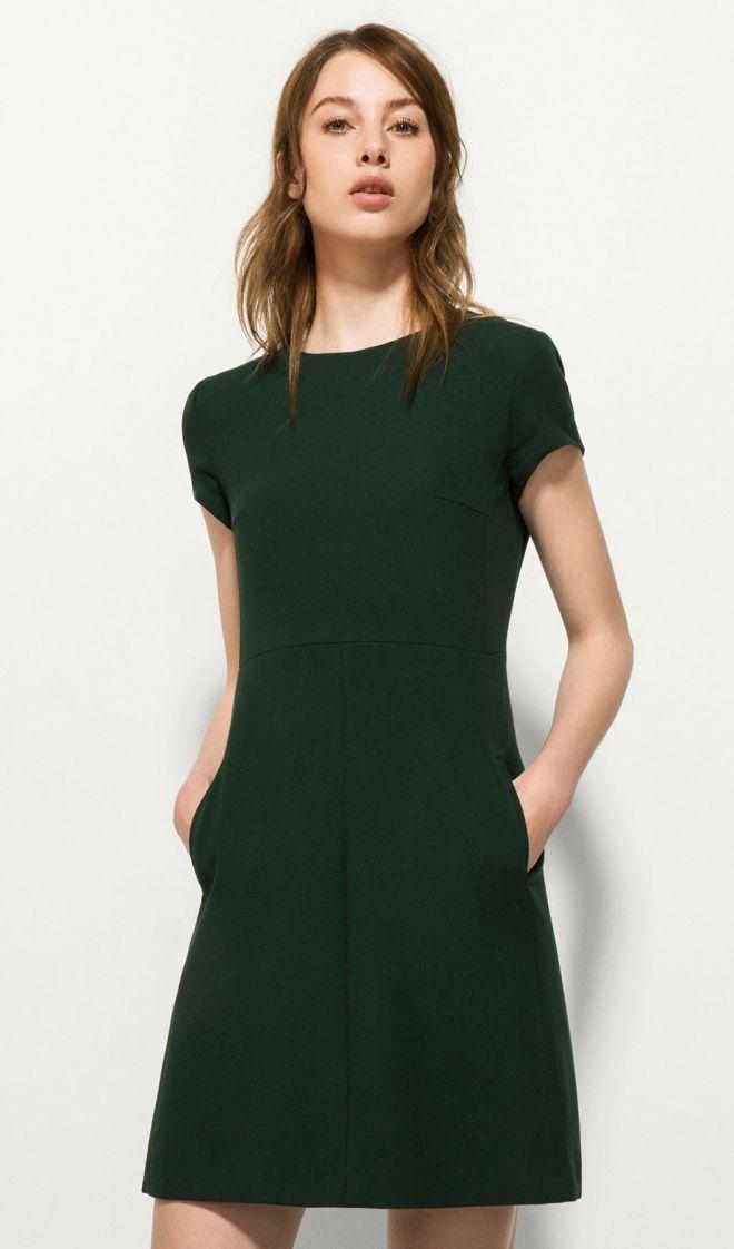 #Bodas Vestidos cortos de fiesta: la discreción verde de Massimo Dutti