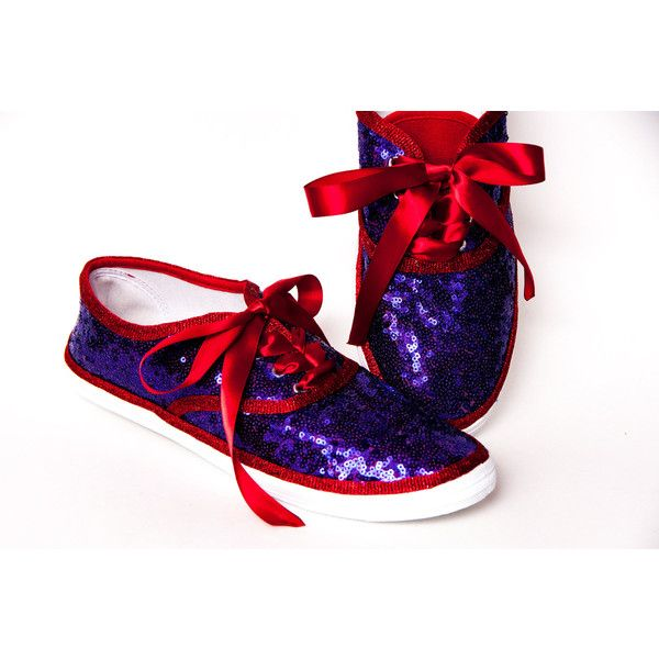 Sequin Cvo Purple Over Red Canvas Sneaker Tennis Shoes With Ribbon... ($50) ❤ liked on Polyvore featuring shoes, sneakers, grey, sneakers & athletic shoes, tie sneakers, women's shoes, tennis trainer, red canvas sneakers, purple sneakers and red tennis shoes