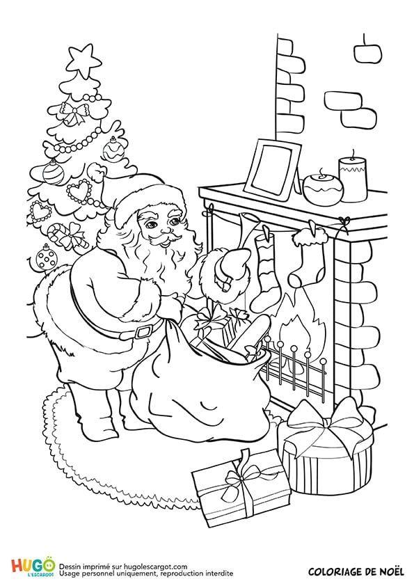 Coloriage Et Illustration Du Père Noël Qui Dépose Les Cadeaux Chut