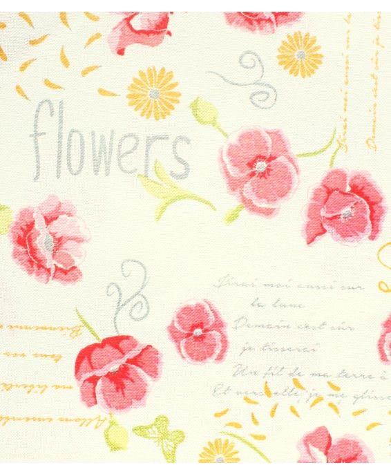 Provenzal Estampado Flores Rosa Fondo Blanco