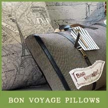 Bon Voyage Pillow Collection. Pack your bags and get ready to go! With Bon Voyage we have taken inspiration from some of our favorite travel destinations to design a collection full of the excitement of discovering a beautiful new place. We have drawn from maps and flags and even the luxurious age of oceanliners to bring the world's most exciting destinations to your decor from thesouthernhome.com