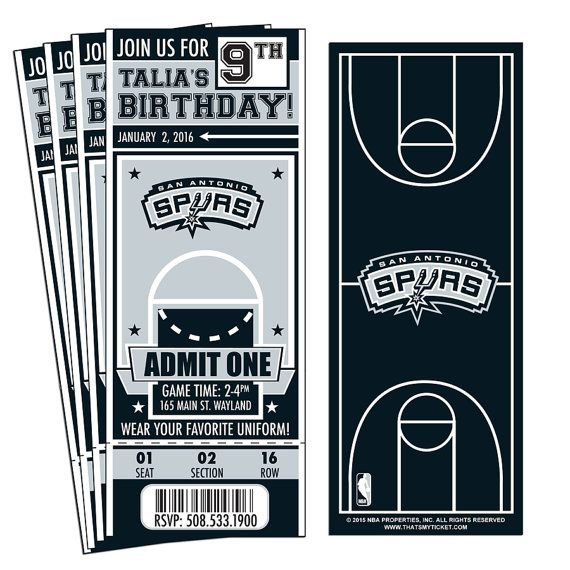 12 San Antonio Spurs Custom Birthday Party Ticket Invitations - Officially Licensed by NBA