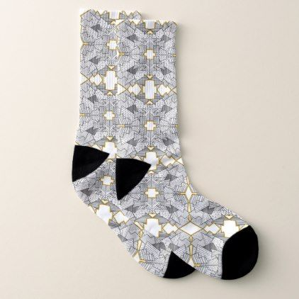 Abstract Geometric Overlap Edged in Gold Socks - black gifts unique cool diy customize personalize