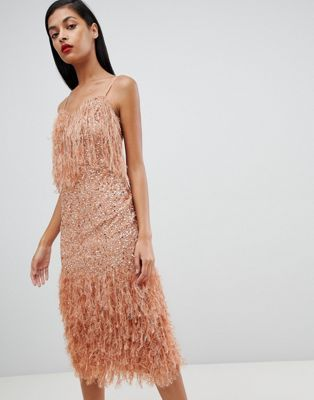 3174b876 Shop ASOS DESIGN Feather Trim Sequin Midi Dress at ASOS. Discover fashion  online.