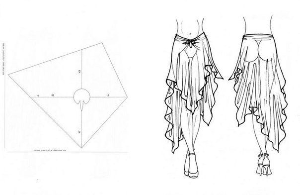 A pattern template for a flowy asymmetrical skirt with a tie in front. This pattern would work best with light and flowy fabrics; such as chiffon, silk, jersey, knit, etc.