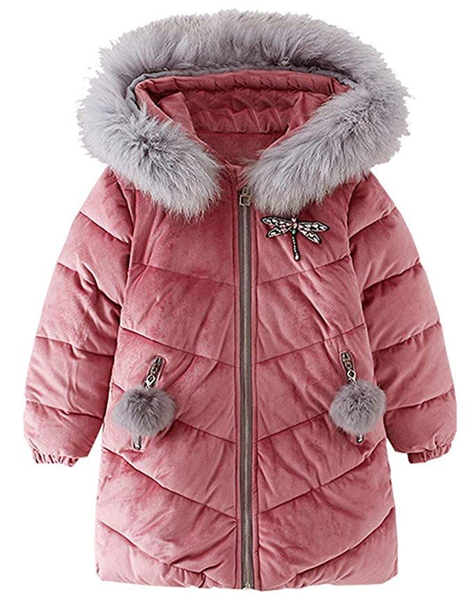 Toddler Kids Baby Girl Winter Warm Outerwear Clothes Faux Fur Thick Solid O-Neck Coat Top Jacket Overcoat