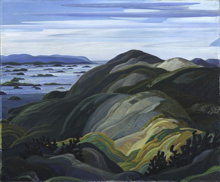 Franklin Carmichael  Canadian, 1890-1945 Bay of Islands from Mt. Burke, 1931 Oil on canvas 101.6 cm x 122.0 cm Gift of Mr. and Mrs. R. G. Mastin, 1975.62  Lent by: McMichael Canadian Art Collection