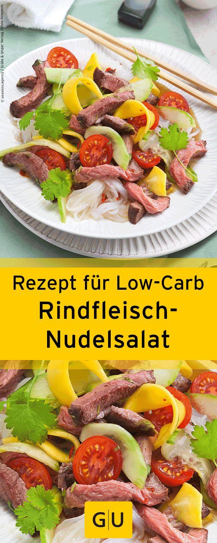 """Schnelles Low-Carb-Rezept für thailändischen Rindfleisch-Salat mit Konjak-Nudeln. Das Rezept ist aus dem Buch """"Low Carb für Berufstätige"""". ⎜GU"""