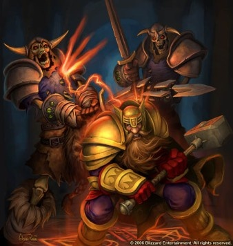 A dwarf paladin fighting, with the retribution aura, against undead skeletons from World of Warcraft