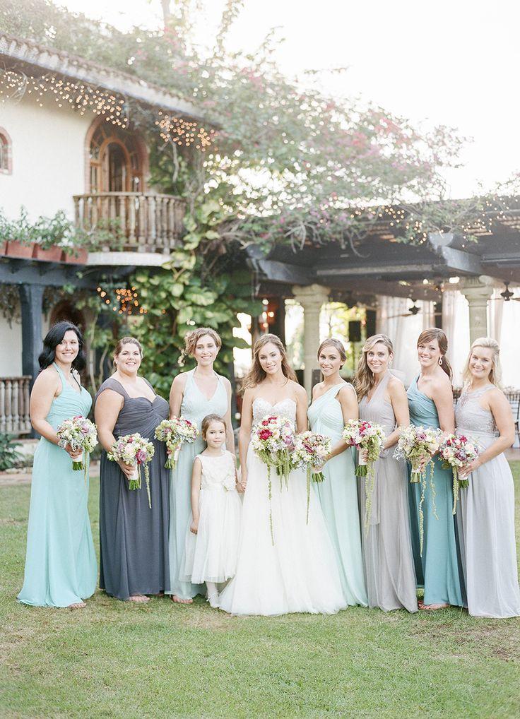 blue bridesmaids dresses - photo by Lisa Blume Photography http://ruffledblog.com/destination-wedding-in-a-puerto-rican-rainforest