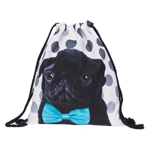 Black Pug Travel Bag