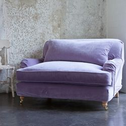 Chair and a half from Rachel Ashwell: Shabby Chic, Color, Reading Chairs, House, Purple Chairs, Studios Couch, Comfy Chairs, Furniture,  Day Beds