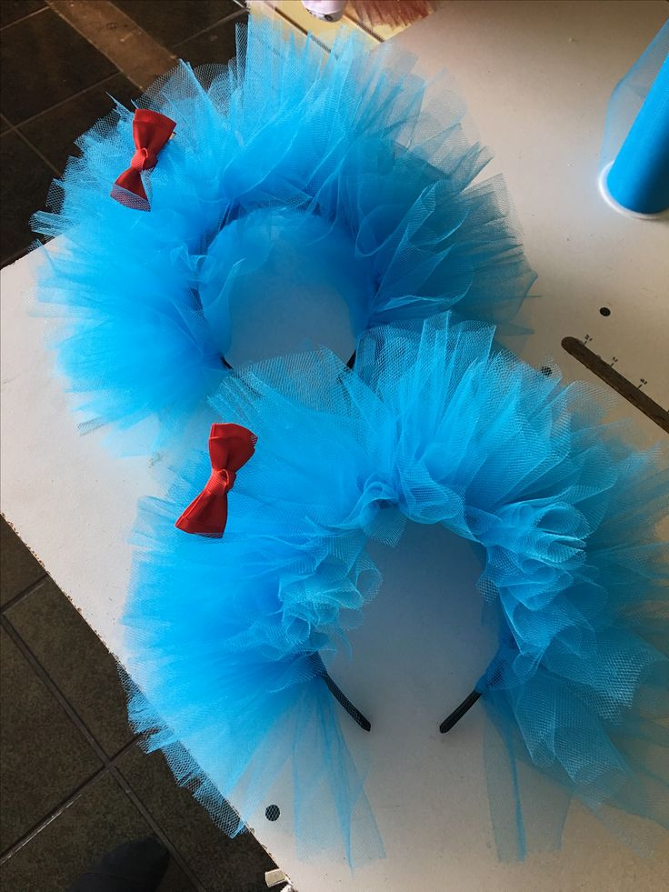 Thing 1 and Thing 2 tulle headband