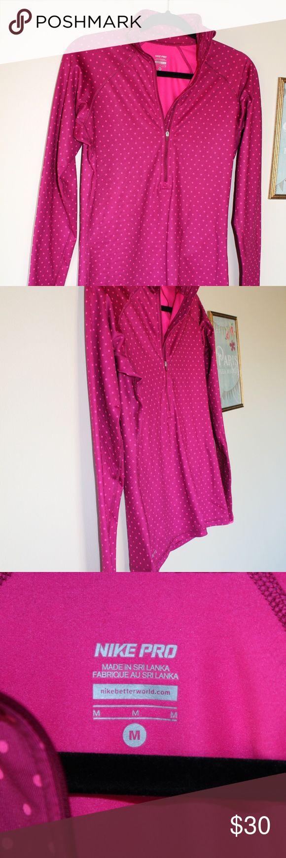 NIKE PRO Womens M 1/2 Zip  Polka Dot Running Jacke NIKE PRO Womens M 1/2 Zip  Polka Dot Running Jacket Pink Nike Sweaters V-Necks