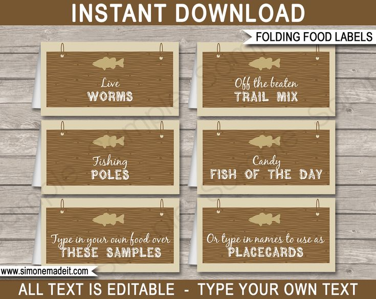 Printable Fishing Party Food Labels | Food Buffet Tags | Tent Cards | Place Cards | Fishing Theme Birthday Party Decorations | DIY Editable Template | Instant Download via simonemadeit.com