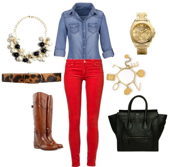 Brown boots, red jeans, denim shirt, leopard belt
