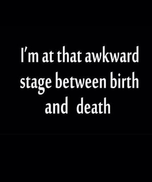 """I'm that awkward stage between birth and death"""