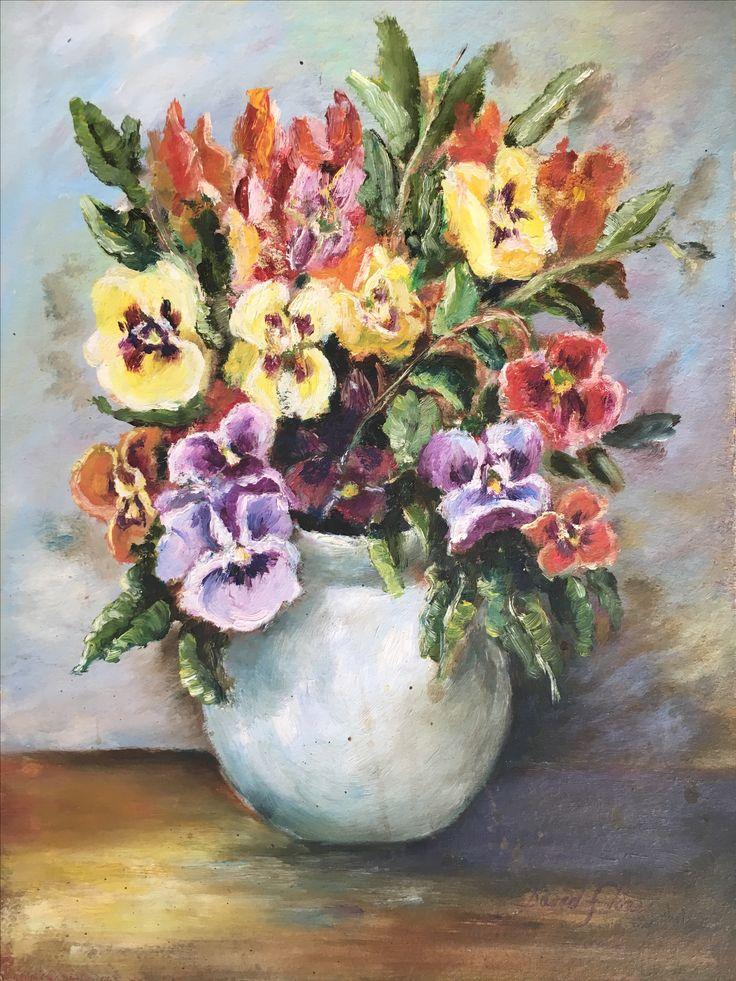 """""""Pensamientos en Jarrón"""" (Pansies on a Vase). 2002. 30x22cm. Oil on cardboard."""