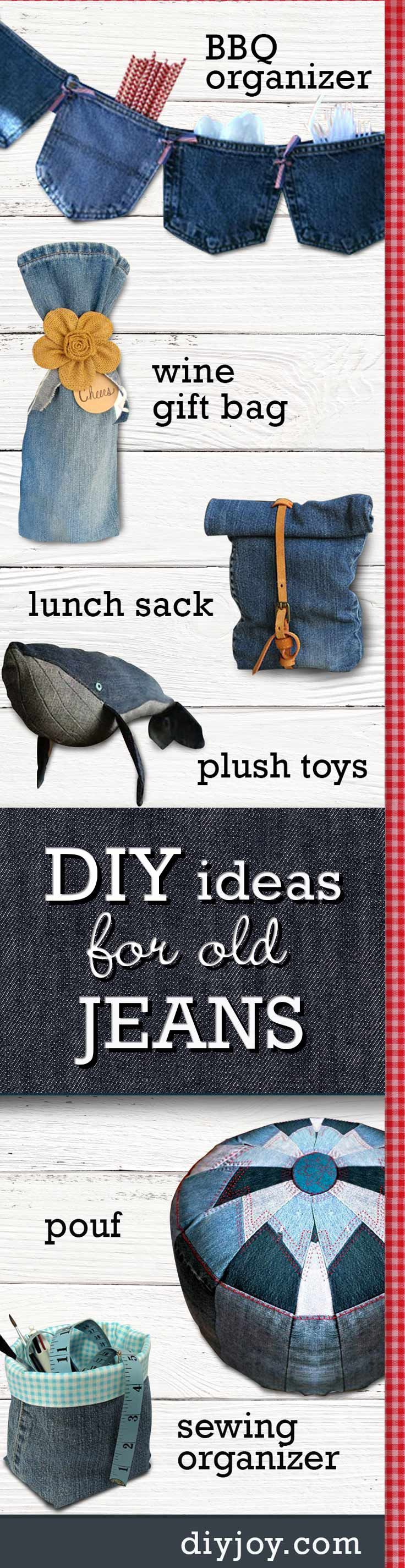 DIY ideas for old jeans - Upcycling Projects with Denim   Cute Crafts and Creative Home Decor by DIY JOY http://diyjoy.com/16-upcycled-projects-from-old-jeans