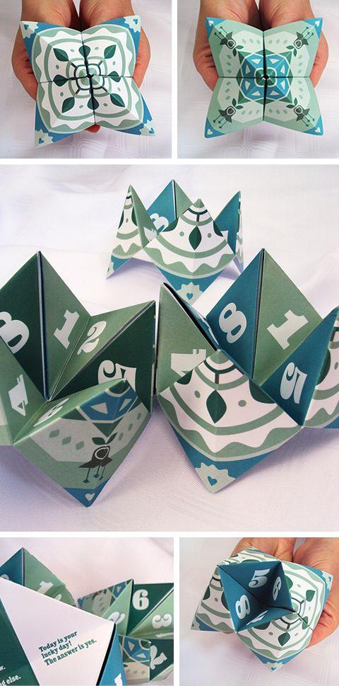 Fortune Teller - 3 Colorways (Pink, Blue & Green) - Free PDF Printables + Video Tutorial.