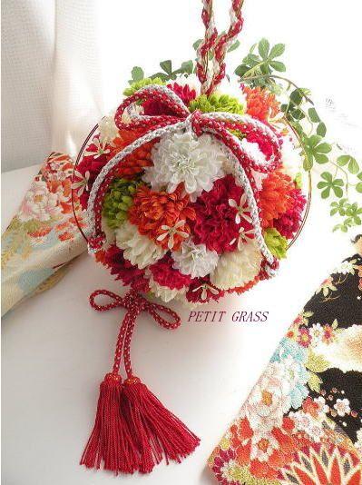 結婚式和装・前撮りから使える「和のボールブーケ」   結婚式ブーケ・着物の髪飾りをオーダーメイド~和装前撮り・結婚式の演出に