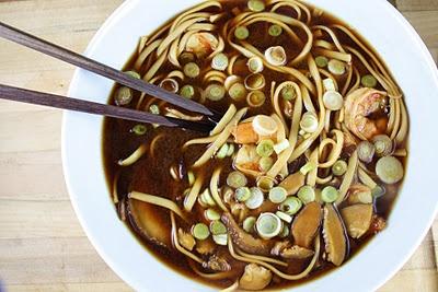 udon noodle soup with miso shrimp. avocado and peanut side salad ...
