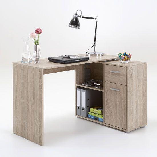 albea rotating corner computer desk in oaktree - Corner Desk Designs