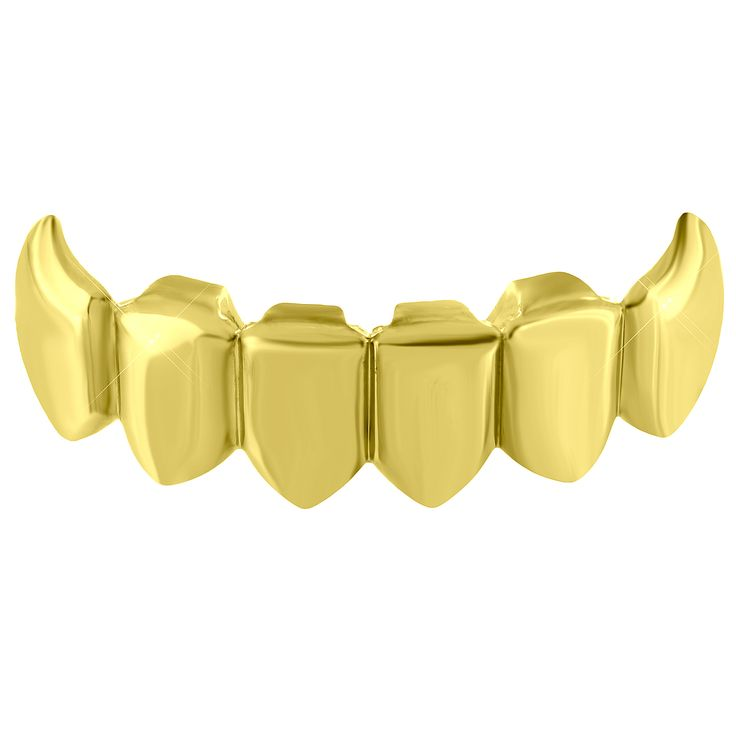 Bottom Teeth Grillz Top Mouth Caps Yellow Gold Tone Hip Hop