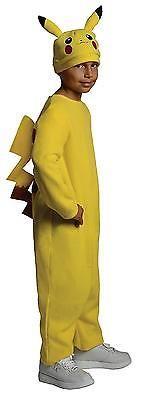 Kids Pokemon Costume Pikachu Child Halloween One Color Yellow Fancy Dress Medium
