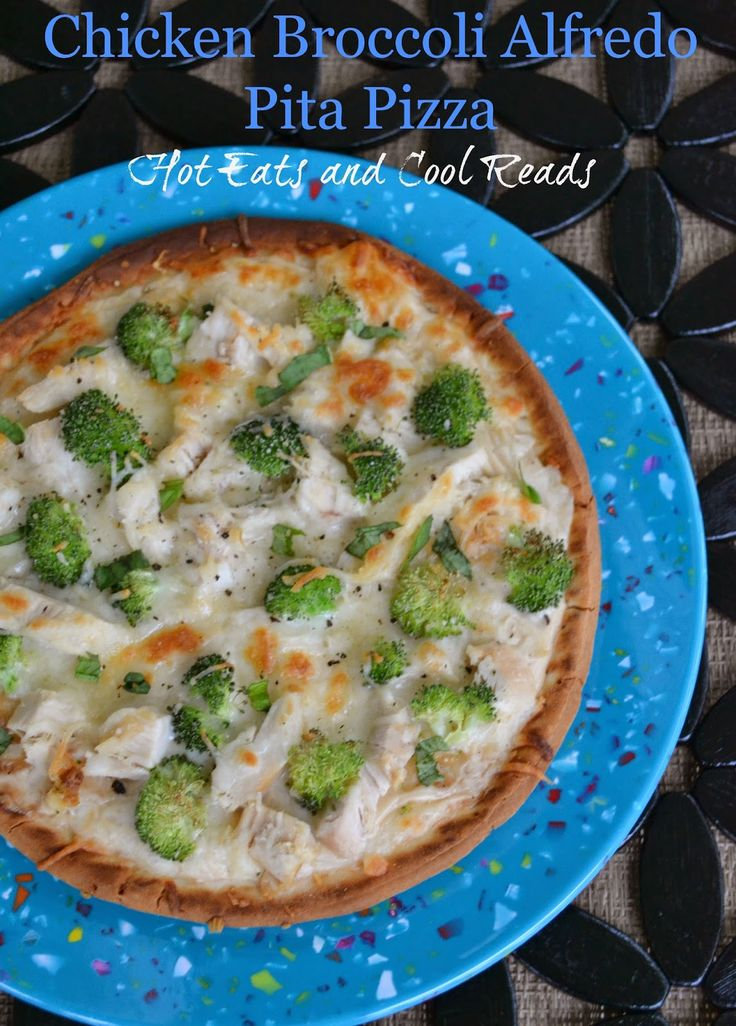 Quick and Easy meal that is full of flavor!! Chicken Broccoli Alfredo Pita Flatbread Pizza from Hot Eats and Cool Reads!!
