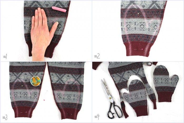 Aus einem alten Pullover süße Handschuhe nähen