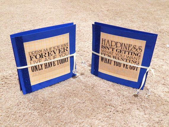 Blauwe accordeon Card inspirerende citaat boek