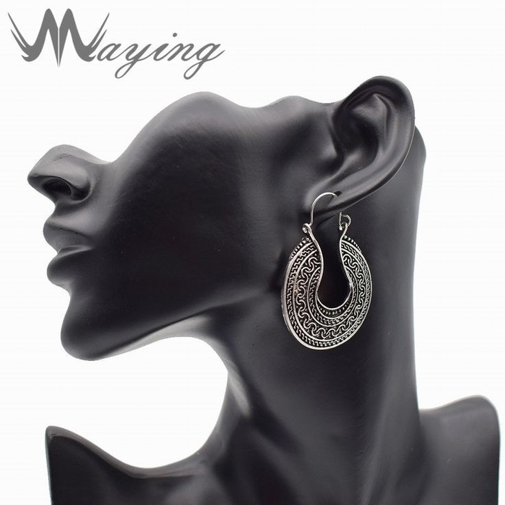 2017 Ethnic Tribal Antique Silver Tone Carved Hoop Earrings Lever Back Totems Unique Circle Earings for Girls Womens Jewelry