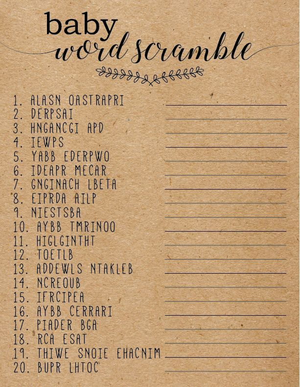Baby Word Scramble Game, Editable Baby Word Scramble Game, Baby Shower Word Scramble Game, Rustic Baby Shower Games,