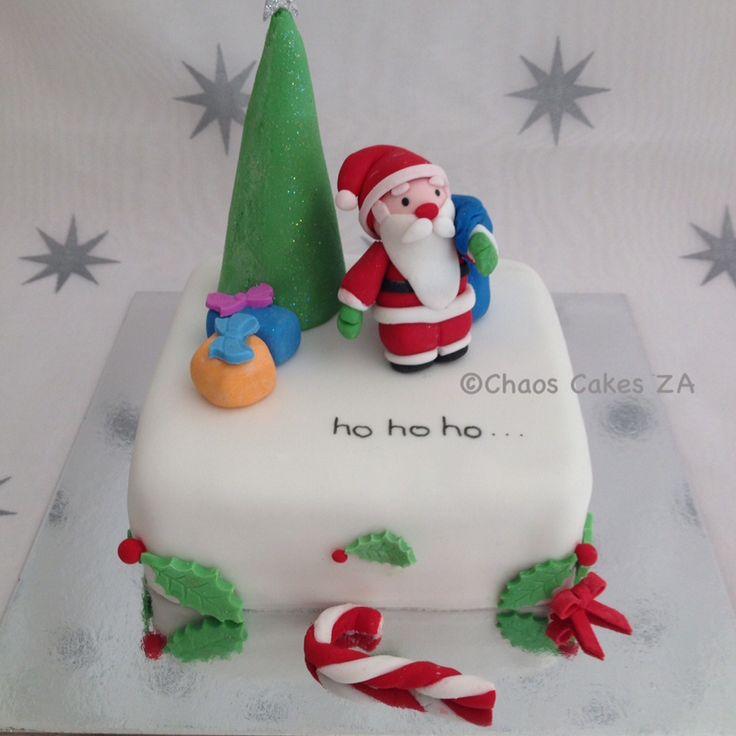 Ho Ho Ho white fondant cake Christmas Cakes by Chaos Cakes ZA