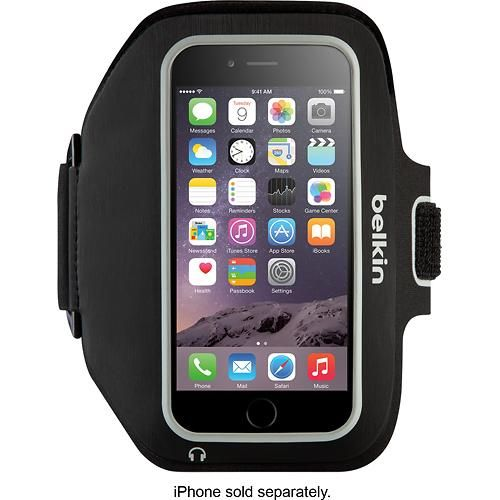 Belkin - Sport-Fit Plus Armband for Apple® iPhone® 6 Plus - Black - Larger Front