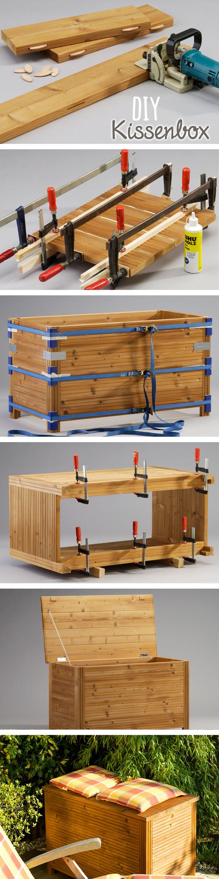 in dieser diy kissenbox aus massivem holz sind polsterauflagen decken oder kleine gartenger te. Black Bedroom Furniture Sets. Home Design Ideas