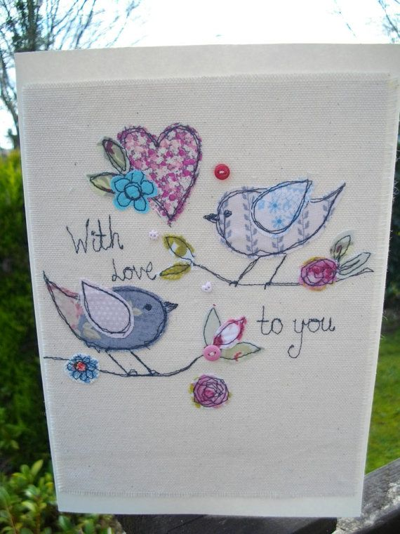 A pretty machine embroidered card on cream cotton using lovely quality fabrics.Each card will be slightly different to the one in the picture