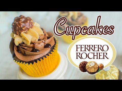 Cupcake Ferrero Rocher (chocolate y avellanas) - YouTube