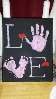 Basteln mit Körpereinsatz: Hübsches Bild mit Handabruck   Muttertag Geschenk DIY Malen Liebe Kinder