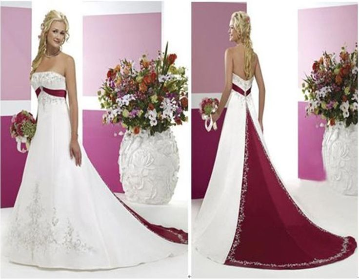 Simple A Line Strapless Ivory Satin Beaded Pearl Wedding: White And Merlot Wedding Dresses With Color- This Is