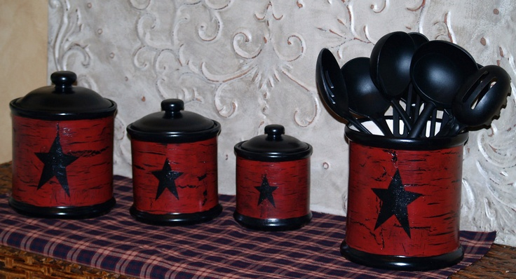 Farm House Rustic Primitive Star Vintage Canister sets..IN YOUR COLORS. $89.99, via Etsy.