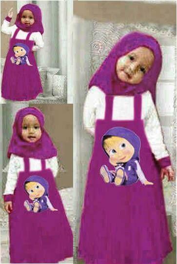 Hijab Marsha + Pashmina, Bahan Spandek     Untuk umur 4-6 tahun tergantung anak     Harga : Rp. 76.000,-/set     Kode Produk / Product Code : BAP2834