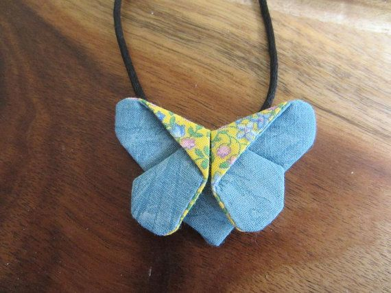 Fabric Origami Butterfly pendant  by ImodFashion on Etsy