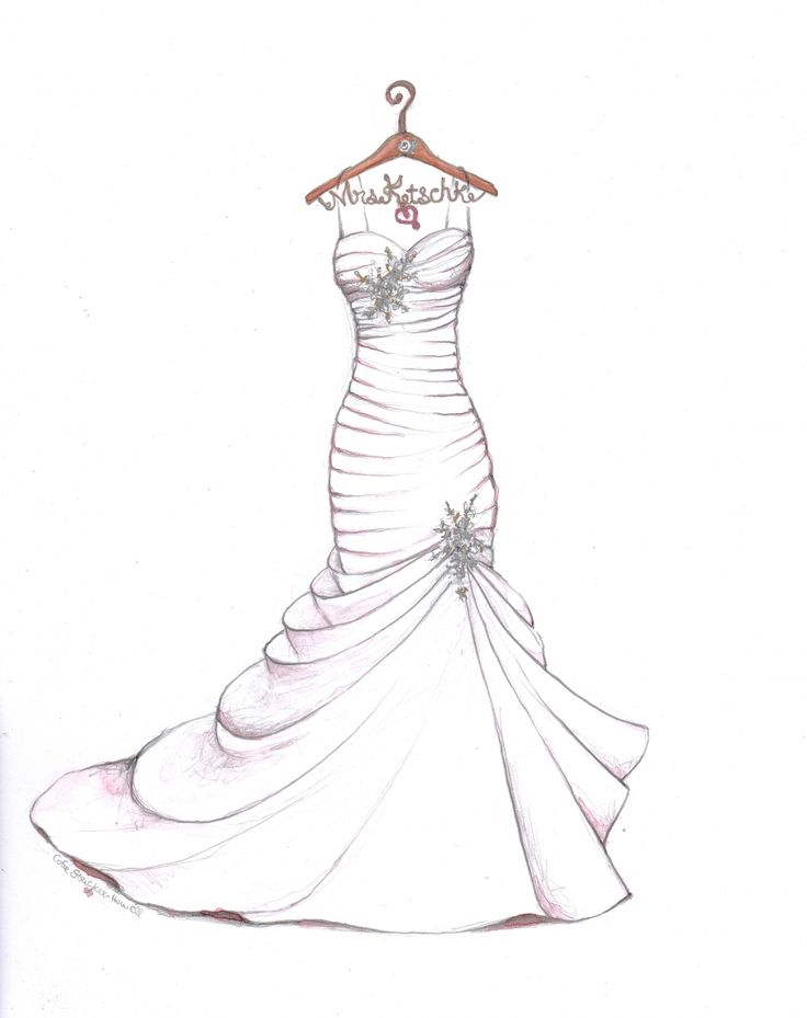 Wedding Dress Sketch With Personalized Hanger By Catie Stricker Howell