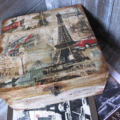 Weekend in Paris French Vintage style jewellery keepsake wooden decoupage box via Etsy