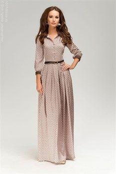 ЛЮБЛЮ ПЛАТЬЯ интернет-магазин платьев - Платье бежевое длины макси с принтом с коричневыми манжетами и воротничком