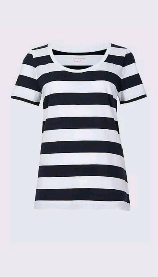 Womens Cotton T Shirt  NEW EX M/&S Supima White Grey Black Sizes 8-24 RRP £13.