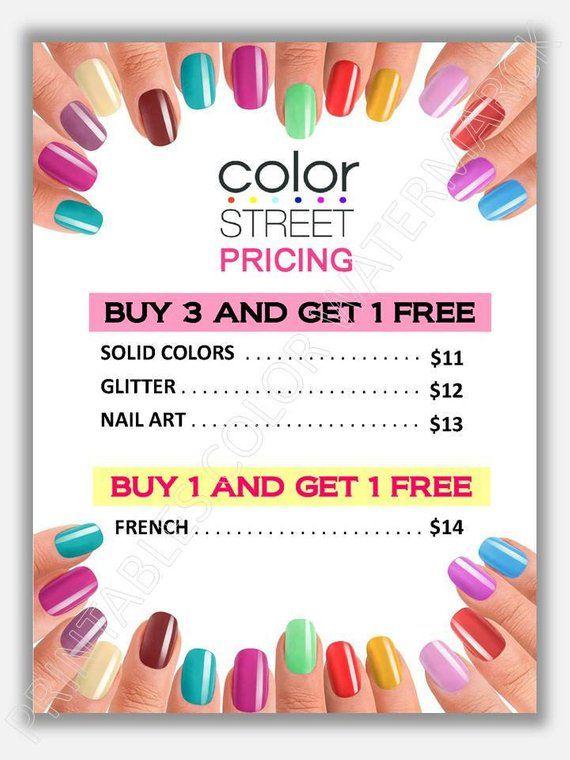 Color Street Price List Marketing Printables Color Stree Flyer Color Street Nails Pricing Poste Color Street Nails Color Street Nail Prices
