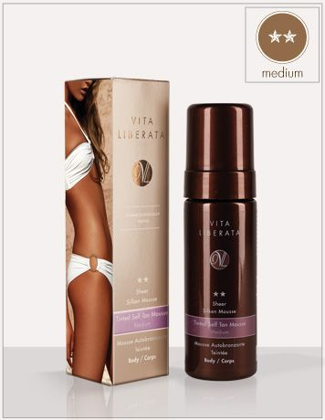 VITA LIBERATA Sheer Sliken Mousse MEDIUM: is a light and airy mousse formula with a subtle instant guide colour that dries on application, and leaves the skin soft and moisturised.  Sheer tinted guide colour for an instant, flawless finish, weightless, water-based formula is incredibly easy to blend.  Super-fast drying develops in 4-6 hours.